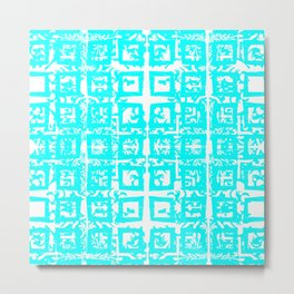 Turquoise and White Moroccan Metal Print