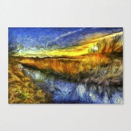 Sunset River Van Gogh Canvas Print