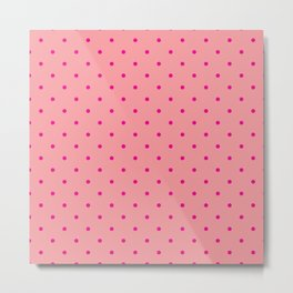 Pink Dots with Coral Pink Background Metal Print