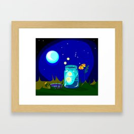 A Jar of Fireflies at Night Framed Art Print