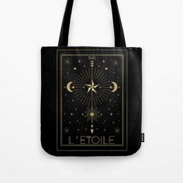 L'Etoile or The Star Tarot Gold Tote Bag