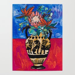 Lions and Tigers Vase with Protea Bouquet Poster