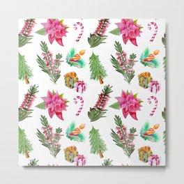 Christmas Pattern with Australian Native Bottlebrush Flowers Metal Print