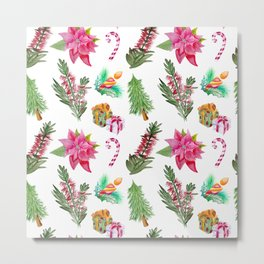 Christmas Pattern with Australian Native Bottlebrush Flowers Metal Print