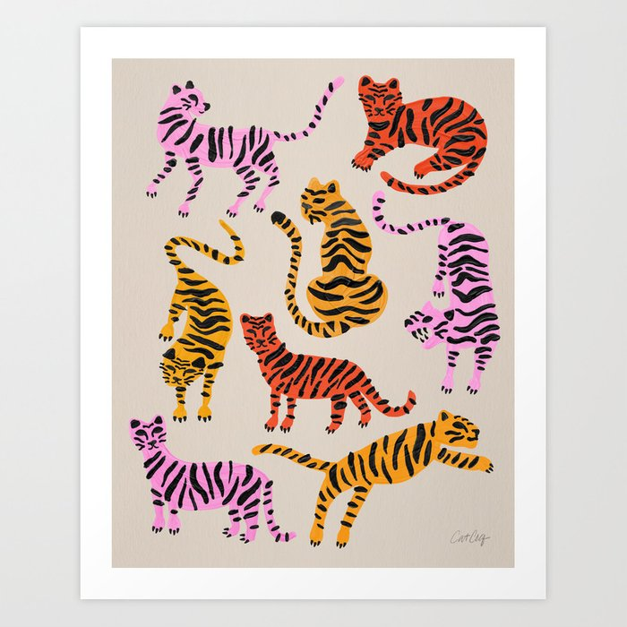 Tiger Collection – Pink & Yellow Palette Art Print