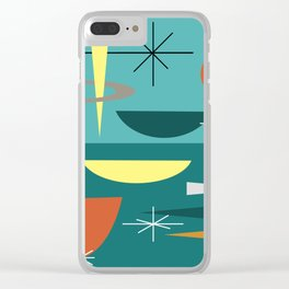 Turquoise Mid Century Modern Clear iPhone Case
