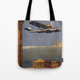 Italian vintage plane travel Brindisi Athens Istanbul Tote Bag