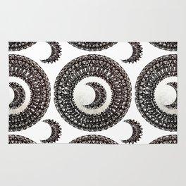 Metallic Silver and Black Moon Mandala Textile Rug