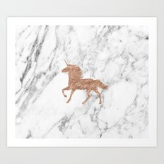 Rose gold unicorn on marble Art Print