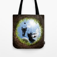 arnold Tote Bags featuring Hole in one Arnold! by Ryan Anderson