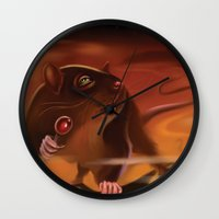 rat Wall Clocks featuring Rat by Brandon Heffron