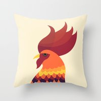 cock Throw Pillows featuring Cock by Volkan Dalyan