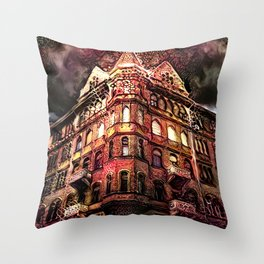 Nightmares at the Haunted Hotel Throw Pillow