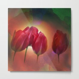 red tulips on watercolor Metal Print