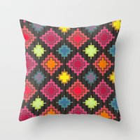 kilim Throw Pillows featuring kilim bold by Sharon Turner