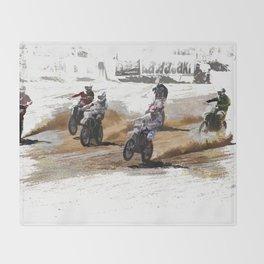 Starting Strong! - Motocross Racers Throw Blanket