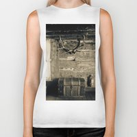 cabin Biker Tanks featuring Colorado Cabin by Lost In Nature