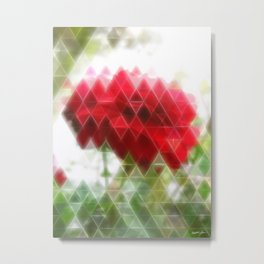 Red Rose with Light 1 Art Triangles 2 Metal Print