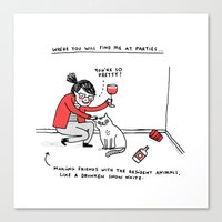 butterfly Canvas Prints featuring Me, At Parties by gemma correll