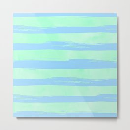 Trendy Stripes Blue Raspberry + Mint Meringue Metal Print