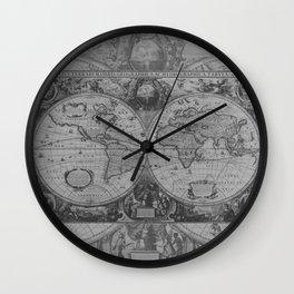 Antique Gray Map Wall Clock
