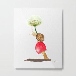 Snail on a mushroom Metal Print
