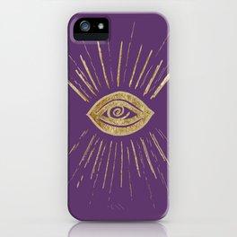 Evil Eye Gold on Purple #1 #drawing #decor #art #society6 iPhone Case