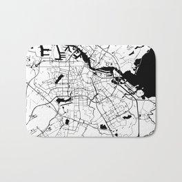 Amsterdam White on Black Street Map Bath Mat