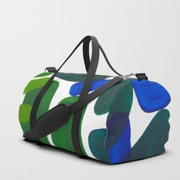 Mid Century Vintage Abstract Minimalist Colorful Pop Art Phthalo Blue Lime Green Pebble Shapes Duffle Bag