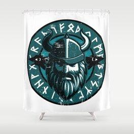 Viking Odin with Hugin and Munin Shower Curtain