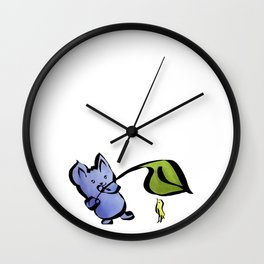 Good Friends Cute Animal Watercolor Painting with Mouse and Bird Wall Clock