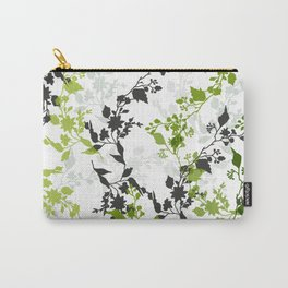 Branches and Leaves in Cobalt Grey and Green Carry-All Pouch