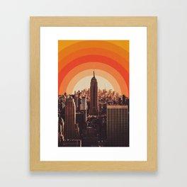 New York's Famous Sunset - Retro City Framed Art Print
