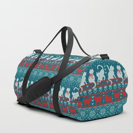 Festive Fair Isle Knitting Cats Love // teal white and red kitties Duffle Bag