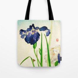 Blue Iris Japanese Watercolor Print Tote Bag