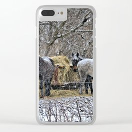 Feeding in The Snow Clear iPhone Case