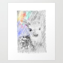 Baby deer: classic sketch, pastel drawing, colorful Art Print