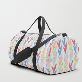 Modern hand painted colorful watercolor abstract chevron Duffle Bag