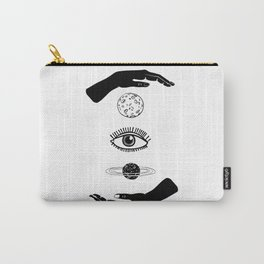 Two hands, between them the moon, eye and planet. Black and white. Carry-All Pouch