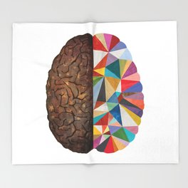 Geometric Brain Throw Blanket