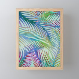 Palm Leaves Pattern - Blue, Purple, Green Framed Mini Art Print