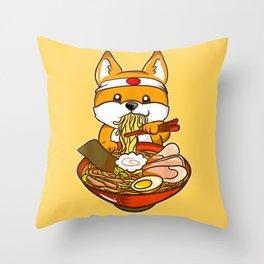 Japanese Anime Shiba Inu Ramen Throw Pillow