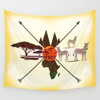 africa Wall Tapestries featuring Africa by famenxt
