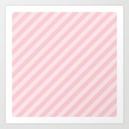 Light Millennial Pink Pastel Candy Cane Stripes Art Print