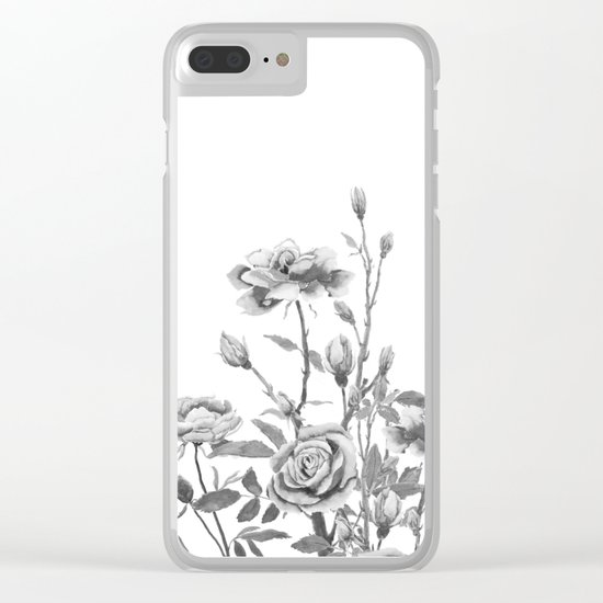 black and white roses Clear iPhone Case