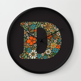 Hippie Floral Letter D Wall Clock