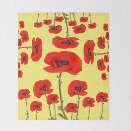 POPPY PIZZA RED-ORANGE  FLORAL DESIGN ON YELLOW ART Throw Blanket
