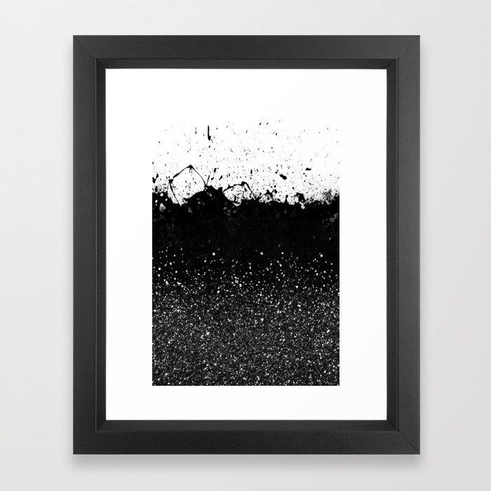 Black and White Splatter Theme Framed Art Print