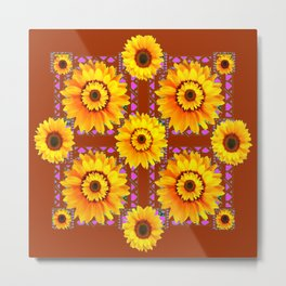CINNAMON COLOR YELLOW SUNFLOWERS ART Metal Print
