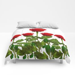 ORIGINAL GARDEN DESIGN OF RED ROSES ON WHITE Comforters